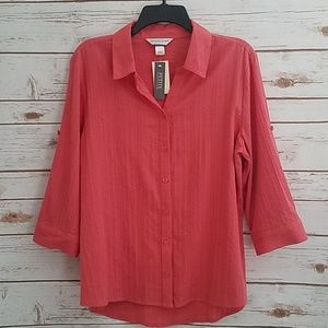 NWT🌻Christopher & Banks Coral Button Down Blouse